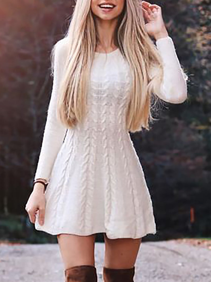 White Long Sleeve Acrylic Crew Neck Dresses