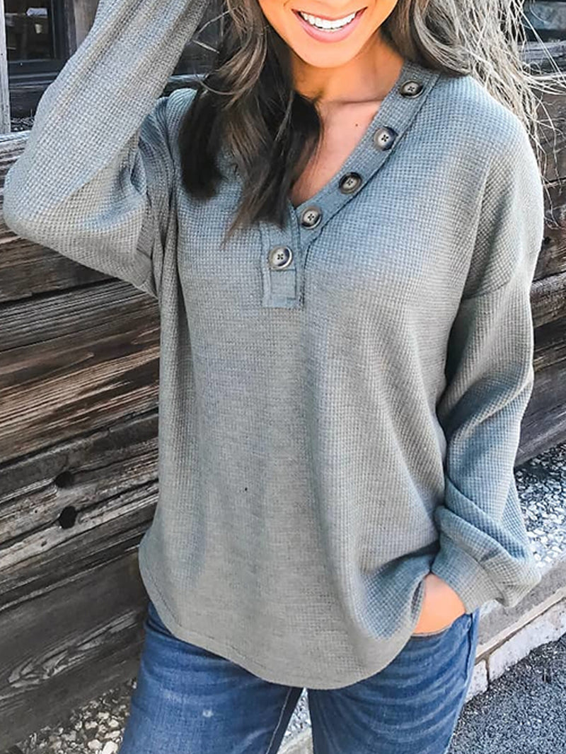 Plus Size Casual Solid Long Sleeve V Neck Shirts & Tops