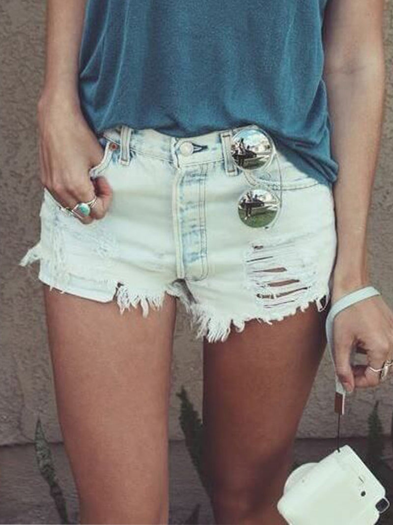 Casual retro washed denim shorts