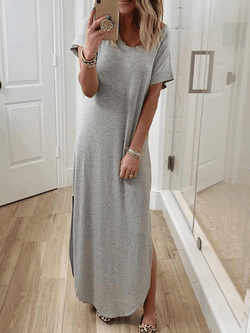 Casual Plus Size V Neck Short Sleeve Shirt Dresses