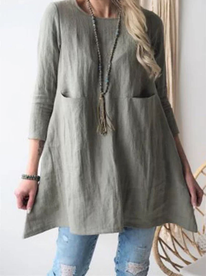 Casual Solid Pockets Long Blouse