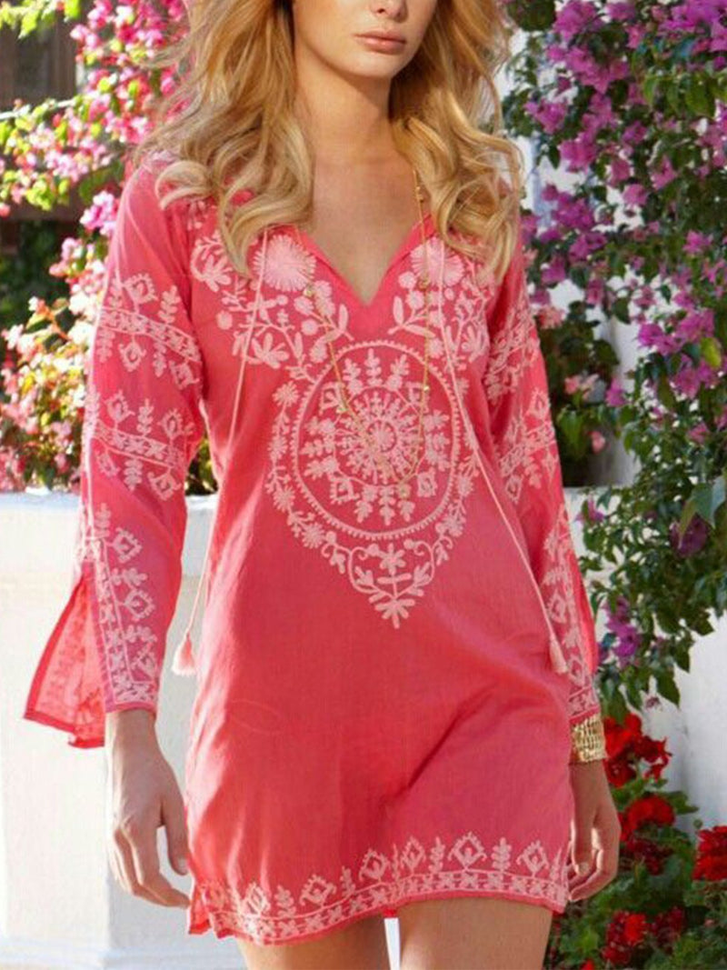 Boho Printed Cotton-Blend 3/4 Sleeve Dresses