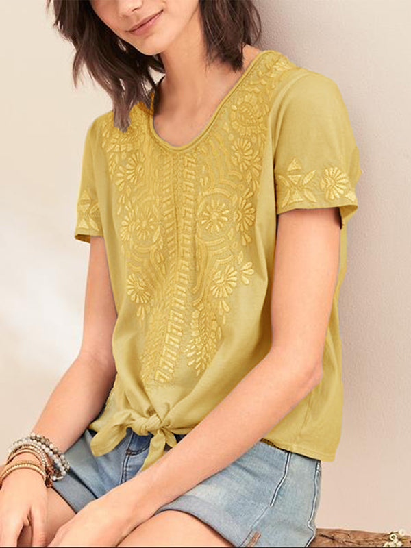 Printed Short Sleeve Crew Neck Casual Shirts