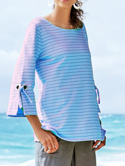 Casual Striped 3/4 Sleeve Crew Neck Shirt