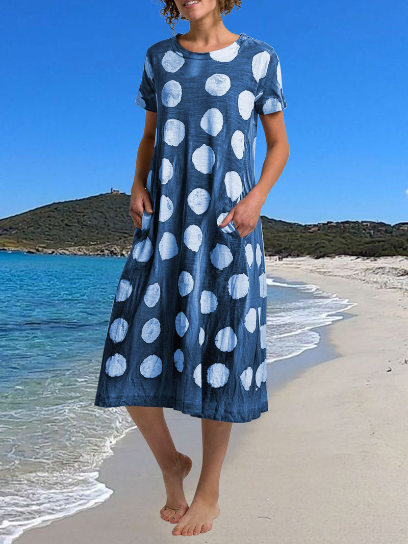 Casual Short Sleeve Polka Dots Cotton Dresses