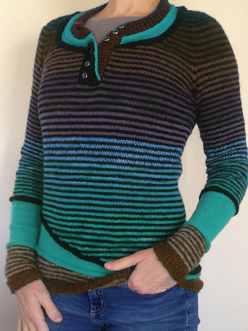 Green Crew Neck Casual Sweater