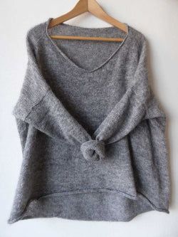 Casual Crew Neck Solid Sweater