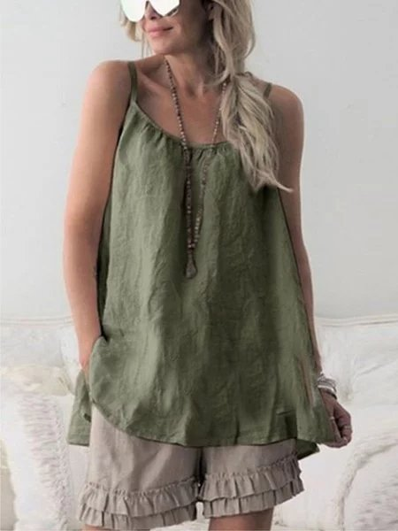 Casual Sleeveless Plain Spaghetti Plus Size Vest