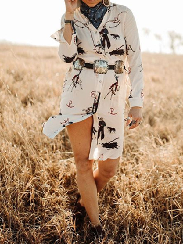 White Printed Shirt Collar Shift Boho Dresses