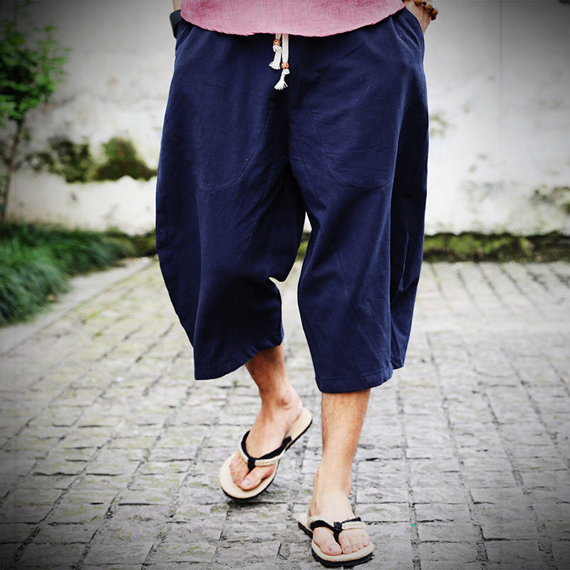 Loose Large Size Trousers Casual Wide Leg 7 pants Men's Big Shorts