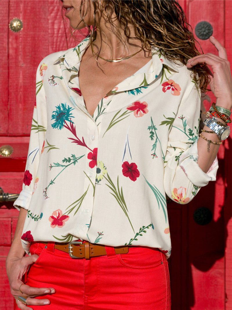 Floral Printed Casual Lapel T-Shirt