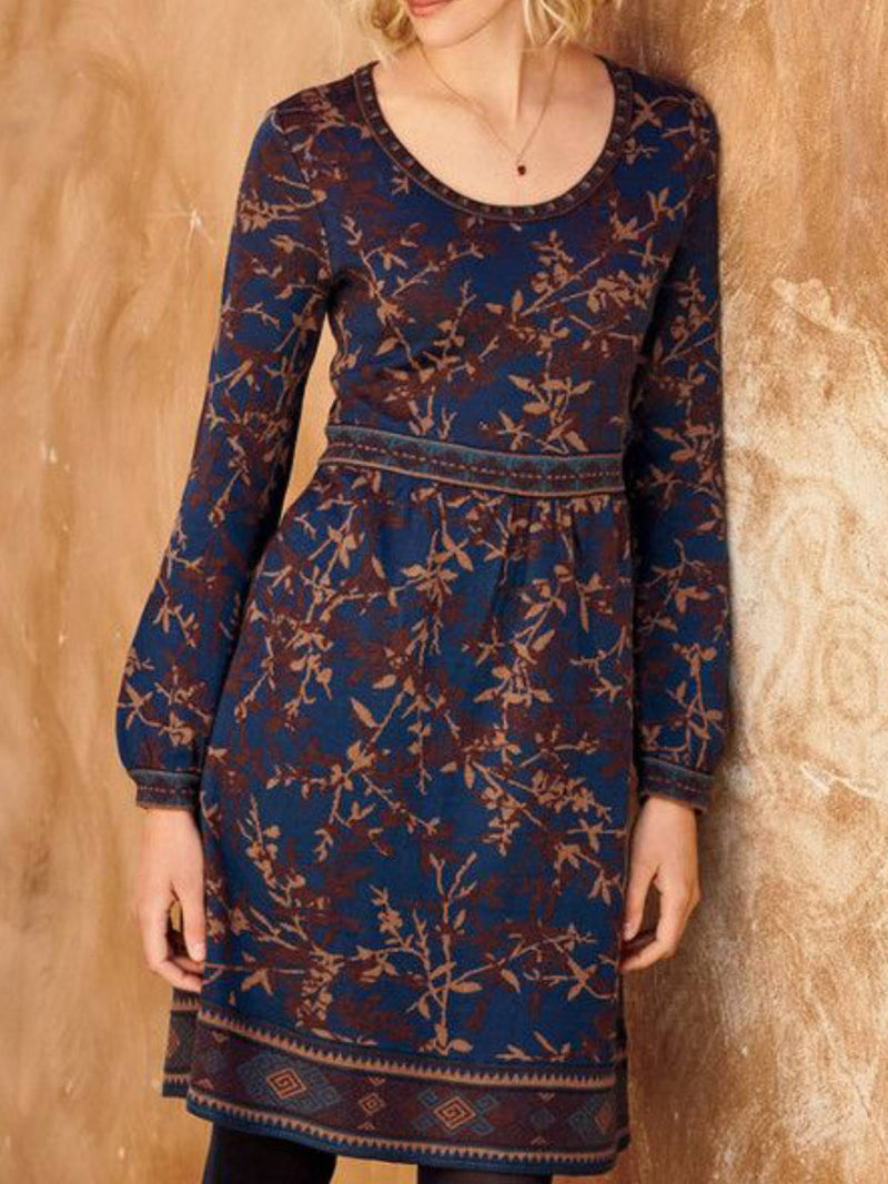 Blue Long Sleeve Floral Crew Neck Dresses