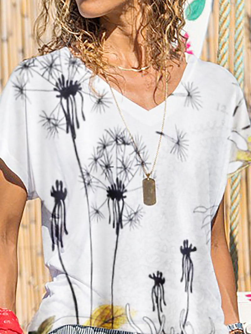 Printed Floral Casual V Neck Shirts & Tops