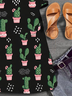 Round neck cactus pattern printed casual short sleeve dress