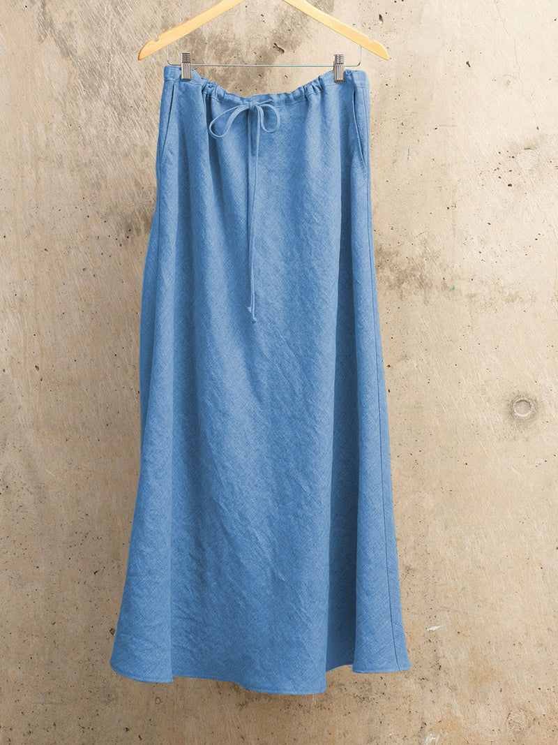 Natural Flax Pleated Oversized Maxi Skirts With Pockets