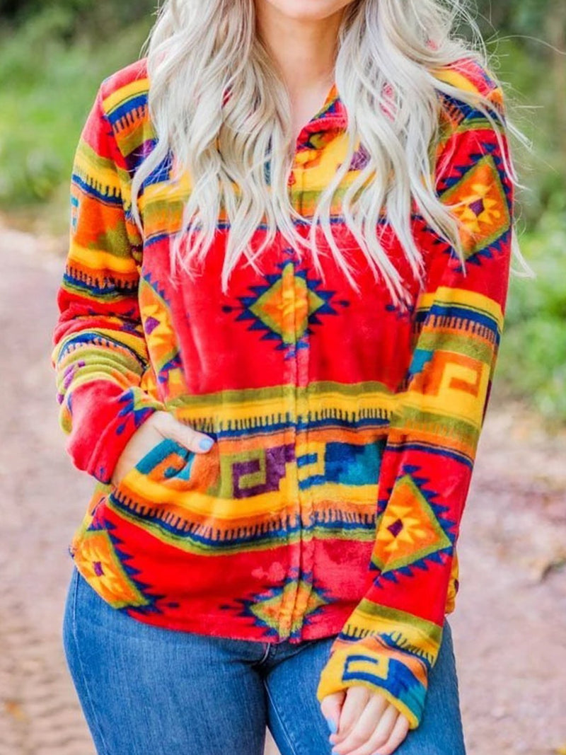 Boho Plus Size Long Sleeve Geometric Printed Casual Sweatshirt