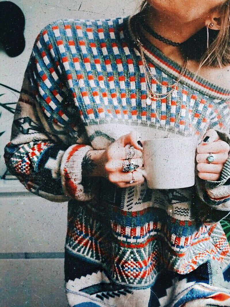 Floral-Print Knitted Boho Sweater
