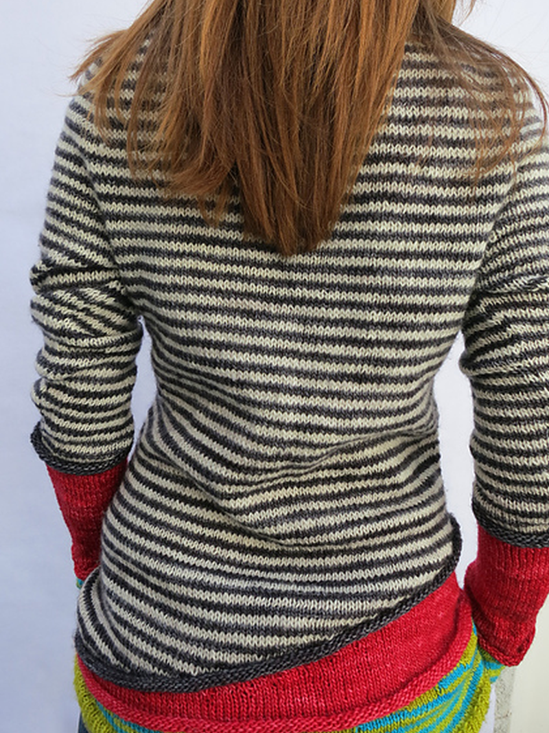 Red Wool Blend Long Sleeve Striped Paneled Sweater