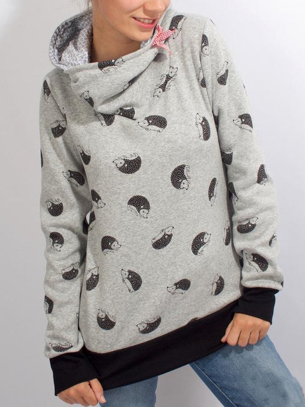 Casual Hoodie Cotton-Blend Printed Sweatshirt