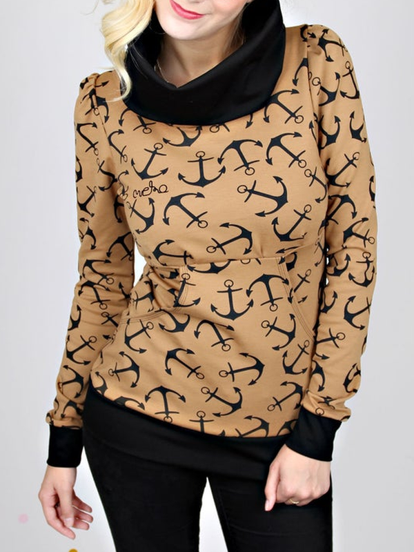 Long Sleeve Printed Cotton-Blend Casual Sweatshirt