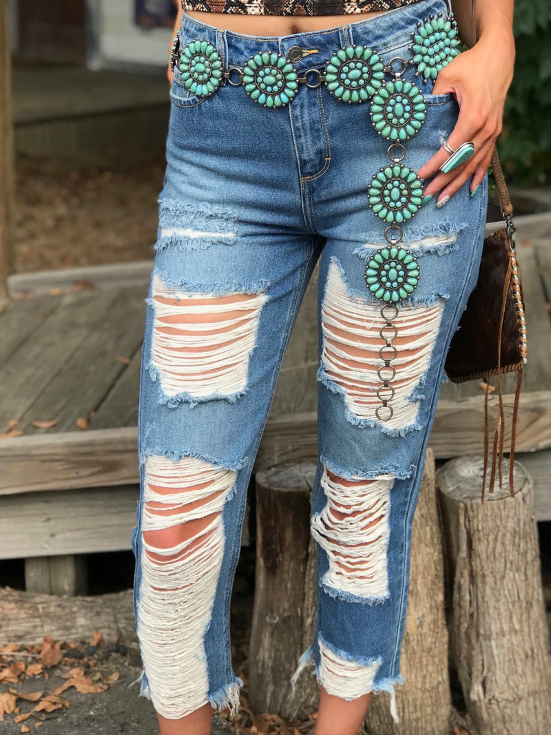 Blue Holiday Ripped Denim Shift Pants
