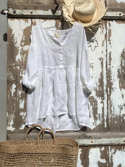 White Casual Plain Cotton V Neck Shirts & Tops