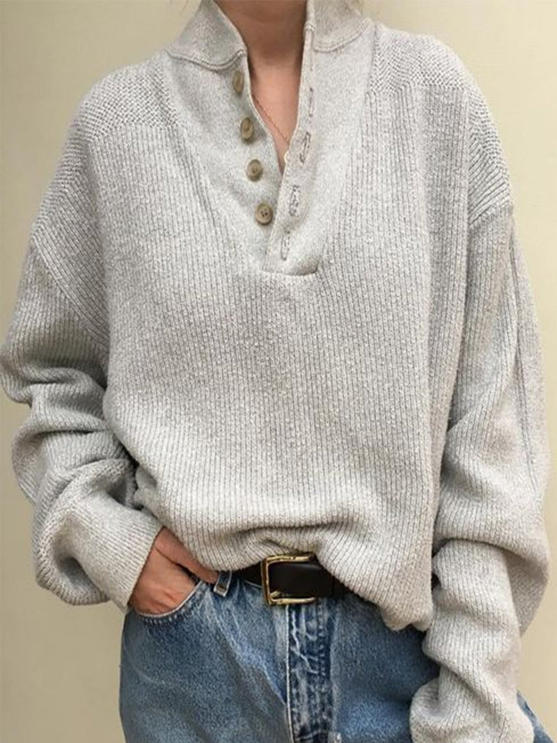 Plus Size Plain V Neck Casual Buttoned Sweater