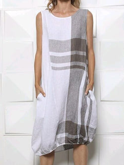 White Geometric Sleeveless Dresses