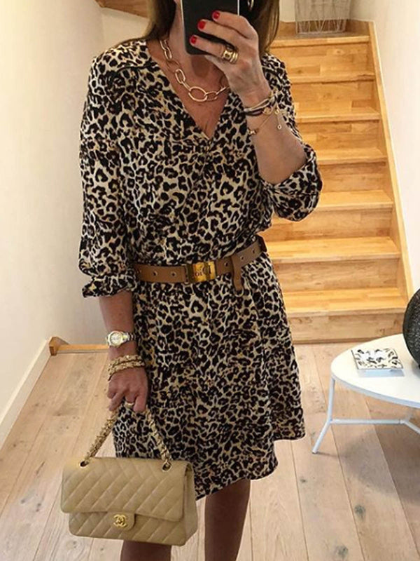 Leopard 3/4 Sleeve Casual Printed Dresses
