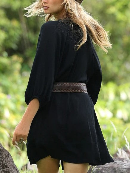 Black Balloon Sleeve Plain Simple Dresses