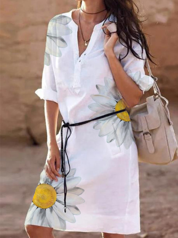White V Neck Casual Half Sleeve Dresses