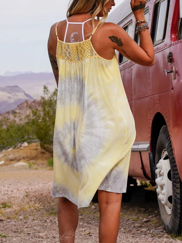 Casual western style plus size loose tie-dye suspender dress