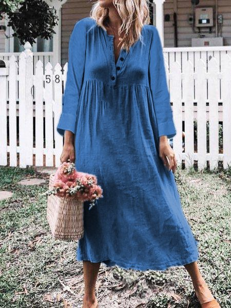 Plus Size Casual 3/4 Sleeve Solid Midi Dress
