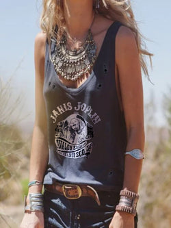 Statement Sleeveless Casual Tops