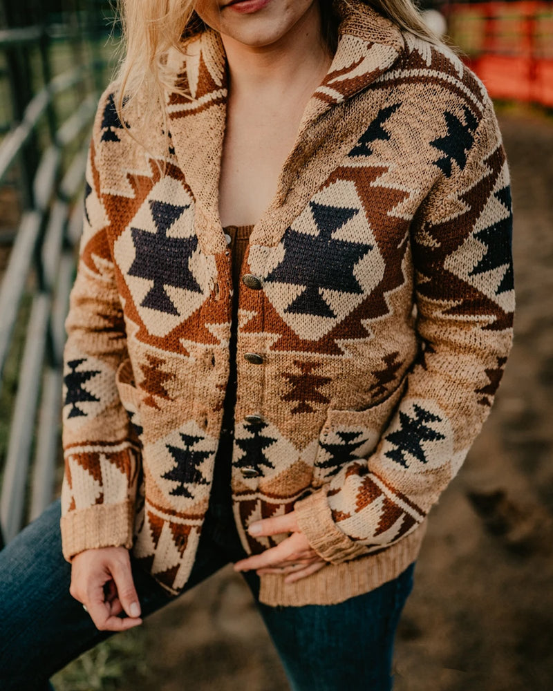 Cotton-Blend Tribal Long Sleeve Sweater