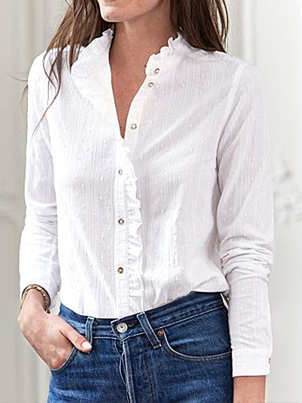 White Long Sleeve Ruffled Cotton Shirts & Tops