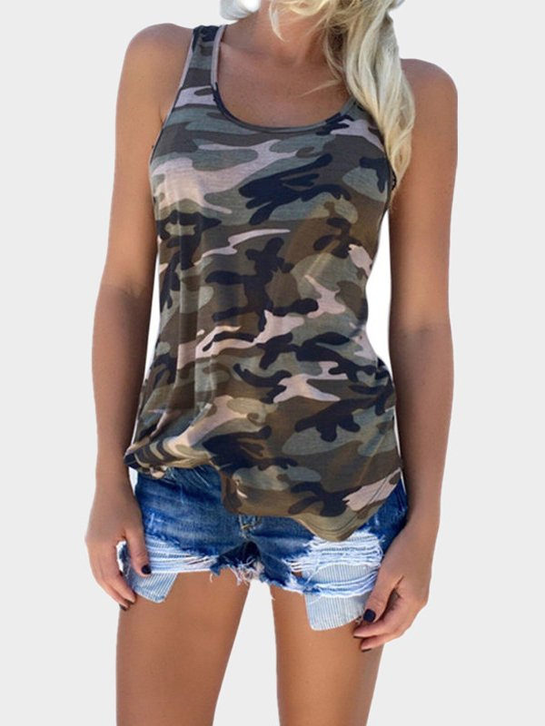 T-Shirts Sleeveless Camo Casual T-Shirts & Blouses