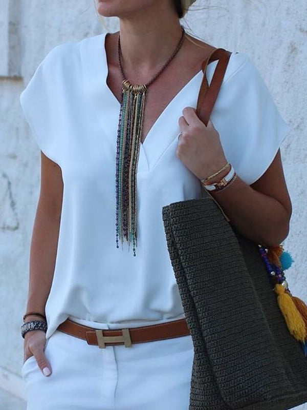 White Cotton V Neck Plain Shirts & Tops