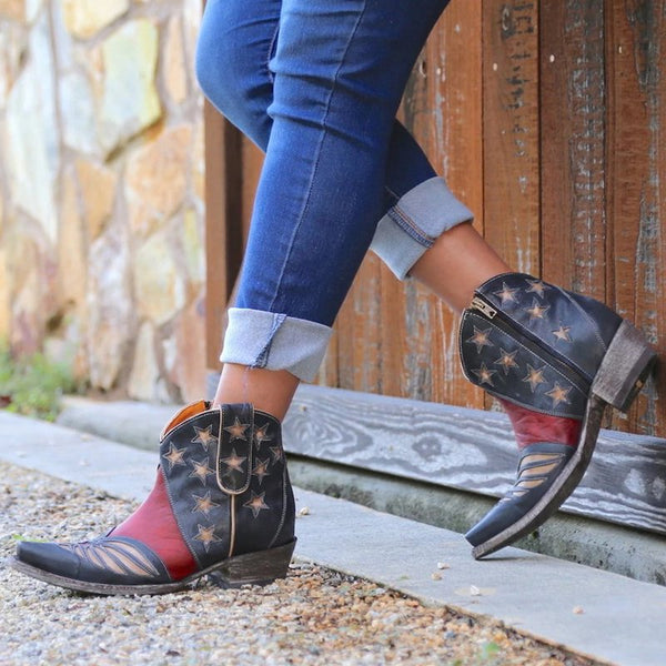 Black Red Split Joint Block Heel Seaside Fall Boots