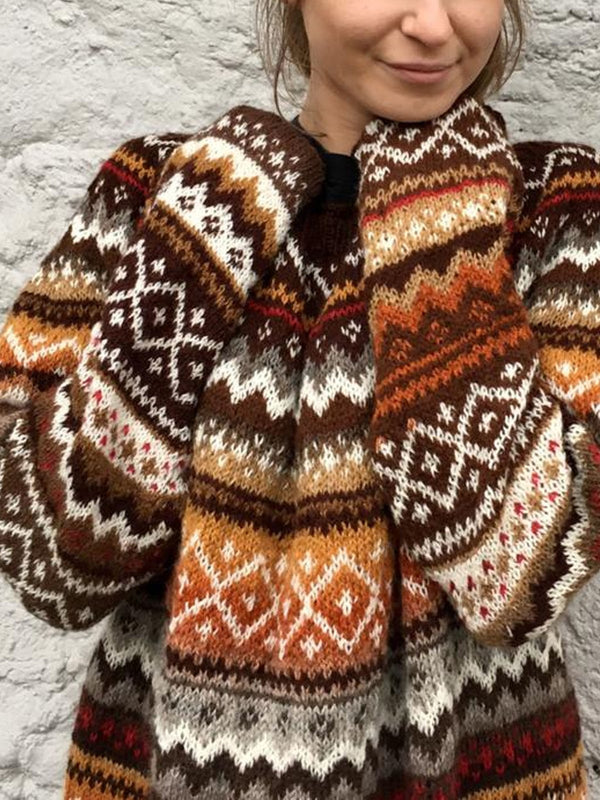Cotton-Blend Long Sleeve Tribal Sweater
