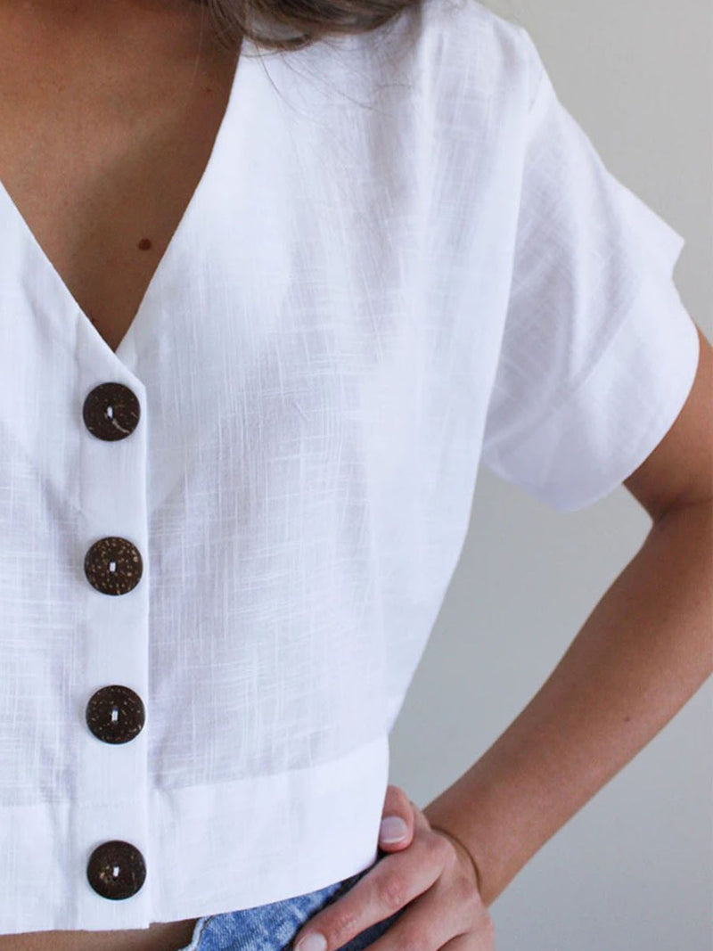 Women V-Neck Buttoned Solid Casual Blouses