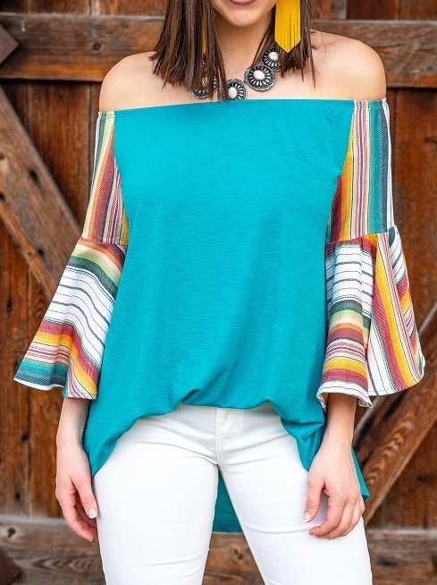 Blue Paneled 3/4 Sleeve Off Shoulder Cotton Shirts & Tops