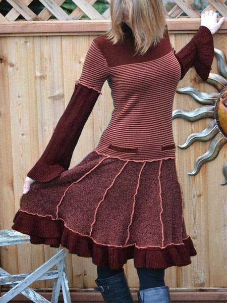Knitted Stripes Casual Long Sleeve Dresses