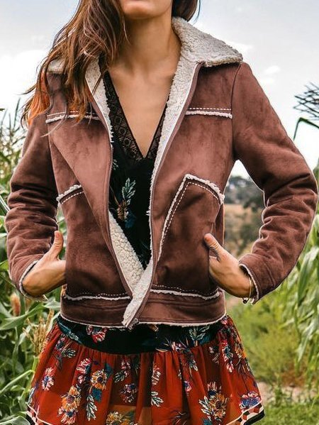 Fluffy Faux Leather Jacket
