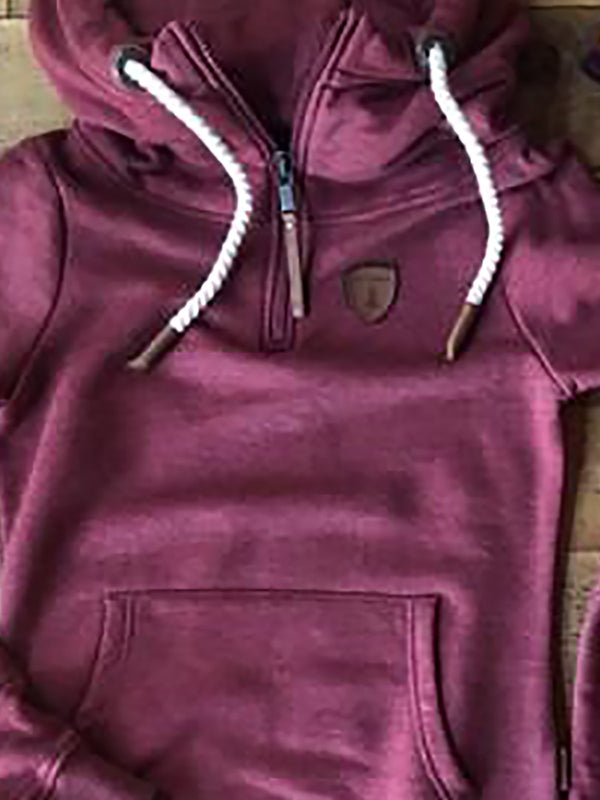 Wine Red Hoodie Zipper Long Sleeve Sweatshirt