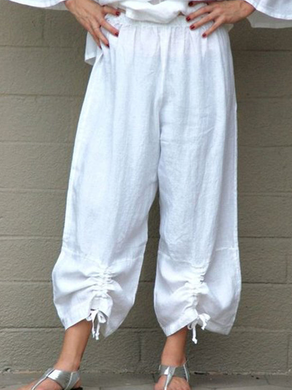 Solid Drawstring Casual Pants
