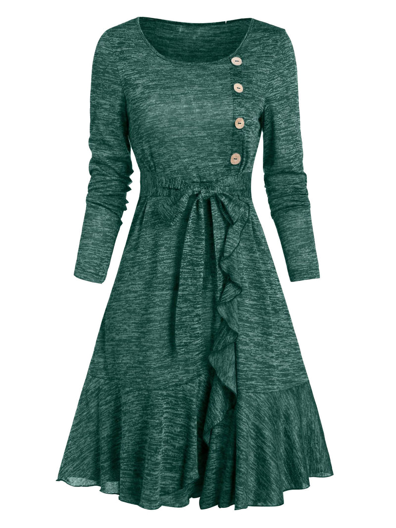 Cotton-Blend Long Sleeve A-Line Casual Dresses
