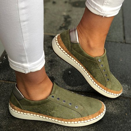 Slide Round Toe Green Flat Heel Pu Casual Women Sneakers