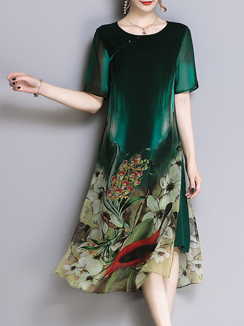 Green Shift Vintage Paneled Printed Midi Dress