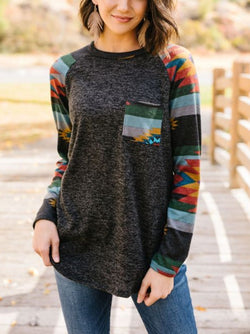 Gray Raglan Sleeve Knitted Geometric Shirts & Tops
